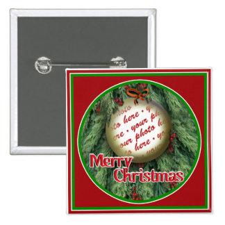 Marco de la foto del ornamento del árbol de navida pin cuadrado