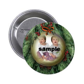 Marco de la foto del ornamento del árbol de navida pin redondo de 2 pulgadas