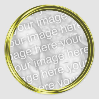 marco de la foto del oro pegatina redonda