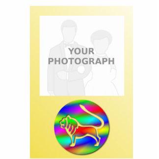 Marco de la foto del zodiaco del león del color fotoescultura vertical