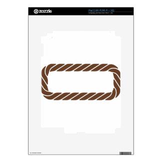 Marco de la frontera de la cuerda de Brown Calcomanías Para El iPad 2