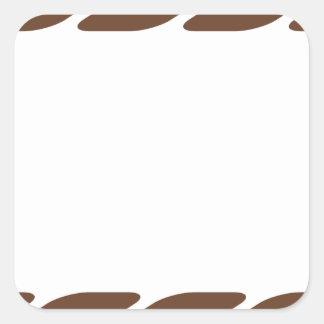 Marco de la frontera de la cuerda de Brown Pegatina Cuadrada