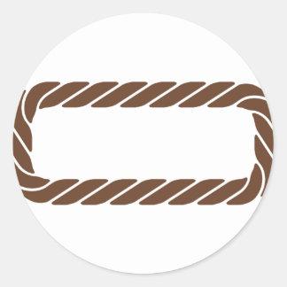 Marco de la frontera de la cuerda de Brown Pegatina Redonda