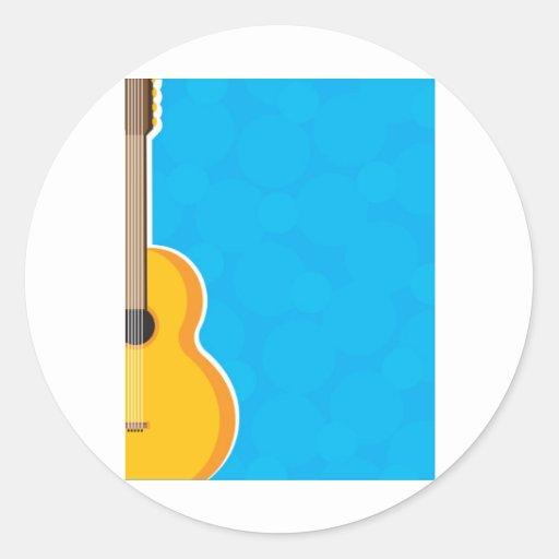 Marco de la guitarra pegatina redonda