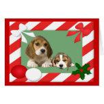 Marco de la tarjeta de Navidad del beagle