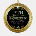 Marco de la turquesa y del oro y 5to aniversario ornamentos para reyes magos