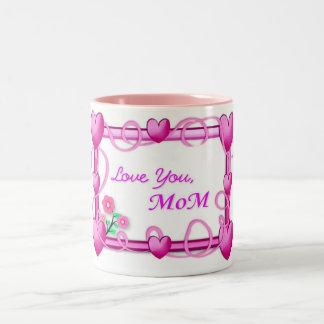 Marco de los corazones - el día de madre taza