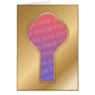 Marco de oro de la foto del ojo de la cerradura tarjeta de felicitación