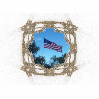 Marco de oro del arte del fractal del alambre fotoescultura vertical
