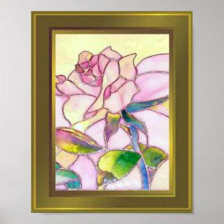 Marco de oro del poster color de rosa excelente