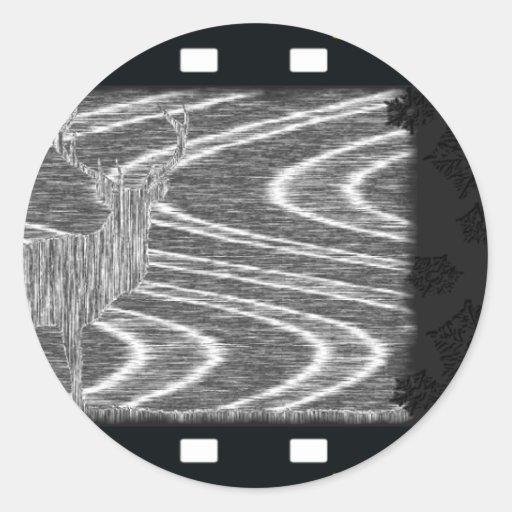 Marco de película secado ciervos de los arroyos de etiqueta