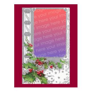 Marco de plata del navidad con acebo tarjetas postales