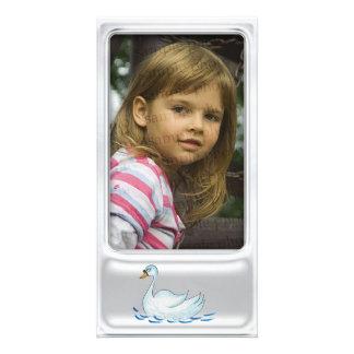 Marco de plata lindo de la foto con el cisne lindo tarjeta fotografica personalizada