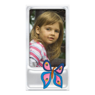 Marco de plata lindo de la foto con la mariposa tarjeta fotográfica personalizada