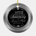 Marco de plata y 10mo aniversario de boda de los ornato