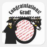 Marco de recepción graduado de la foto del diploma calcomania cuadradas personalizadas