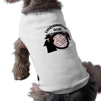 Marco de recepción graduado de la foto del diploma camisetas de perro