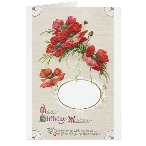 Marco de tarjeta de cumpleaños de la amapola