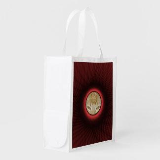 Marco de ventana rojo tejido del bolso de bolsas reutilizables