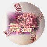 Marco del béisbol pegatina redonda