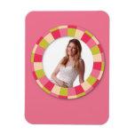 Marco del círculo de la diversión - hoja rosada en iman de vinilo