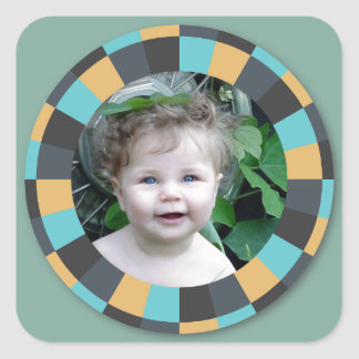 Marco del círculo de la diversión - mostaza pegatina cuadrada