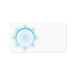 Marco del copo de nieve etiqueta de dirección