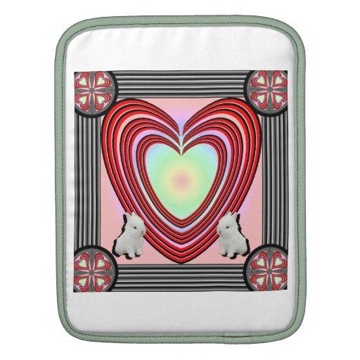 Marco del corazón de los conejitos grande funda para iPads