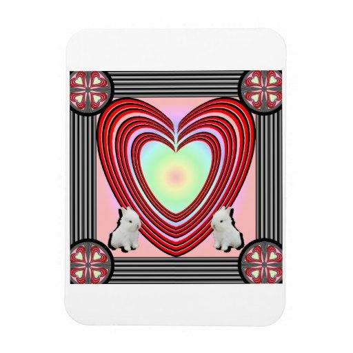 Marco del corazón de los conejitos grande imán rectangular