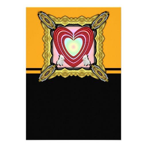 Marco del corazón de los conejitos grande invitaciones personalizada