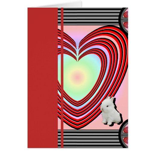 Marco del corazón de los conejitos grande tarjeta pequeña