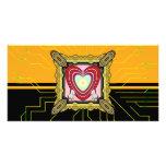 Marco del corazón de los conejitos grande tarjeta fotográfica personalizada