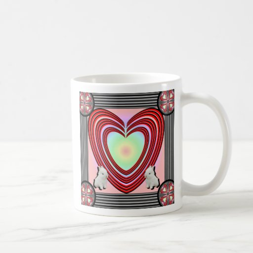 Marco del corazón de los conejitos grande taza de café