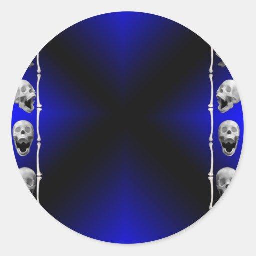 Marco del cráneo en Halloween azul y negro Pegatinas Redondas