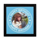Marco del feliz cumpleaños en azul cajas de joyas