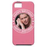 Marco del feliz cumpleaños en rosa iPhone 5 protector