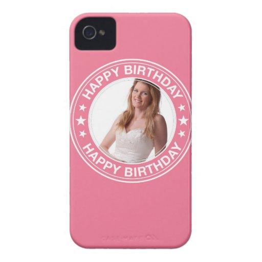 Marco del feliz cumpleaños en rosa Case-Mate iPhone 4 cobertura
