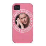 Marco del feliz cumpleaños en rosa vibe iPhone 4 fundas