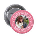 Marco del feliz cumpleaños en rosa pins