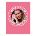 Marco del feliz cumpleaños en rosa postal