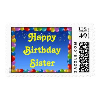 Marco del globo de la hermana del feliz cumpleaños timbres postales