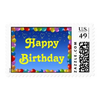 Marco del globo del feliz cumpleaños del sello