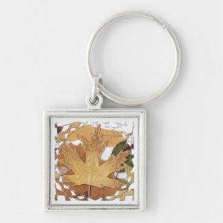 Marco del mosaico de las hojas de otoño llaveros