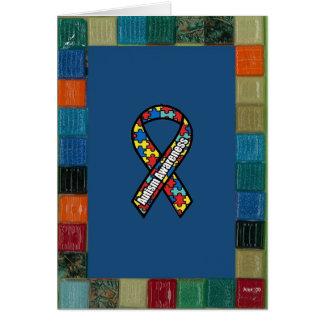 Marco del mosaico para la conciencia del autismo tarjeta