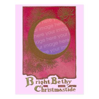 Marco del navidad de las agujas de la luna y del tarjeta postal