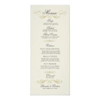 """Marco del oro del menú del boda y del fondo blanco invitación 4"""" x 9.25"""""""