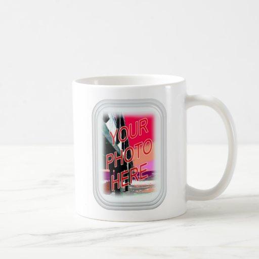 Marco del rectángulo del vidrio esmerilado taza de café