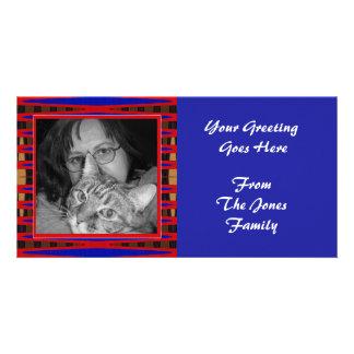 marco del rojo azul plantilla para tarjeta de foto