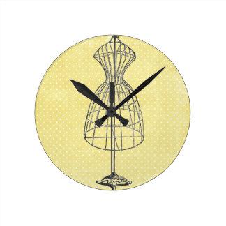Marco del vestido del alambre del vintage reloj redondo mediano