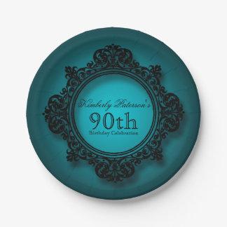 Marco del vintage en el azul - placas de papel del plato de papel de 7 pulgadas